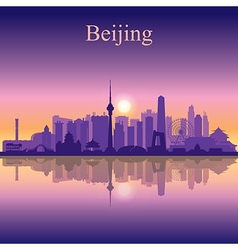 Beijing silhouette on sunset background vector