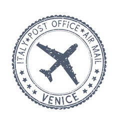 black stamp with venice italy and aircraft symbol vector image