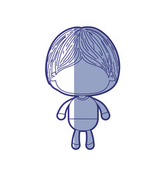 Blue shading silhouette of faceless little boy vector