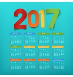 Calendar template for a year 2017 vector image