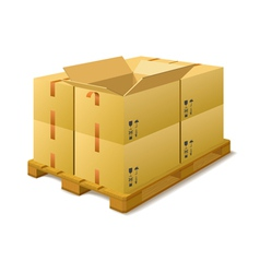 Cardboard boxes on a pallet in stock vector image vector image