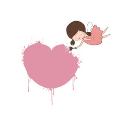 Cute doodle of a girl angel painting a heart for vector
