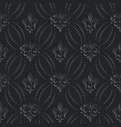 Damask seamless pattern dark background elegant vector