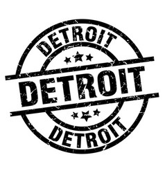 Detroit black round grunge stamp vector