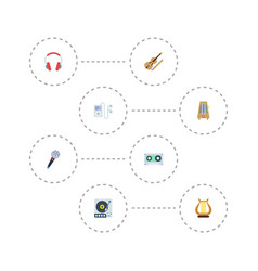 Flat icons fiddle karaoke rhythm motion and vector