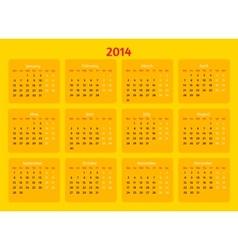 Flat style design 2014 year calendar vector image