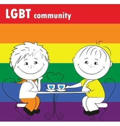 Gay couple sitting in a cafe the lgbt community vector