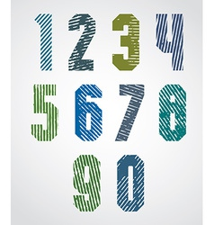 Geometric numbers with halftone lines print vector
