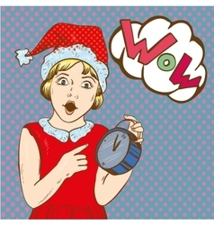 Girl holding clock and waiting for christmas or vector image vector image