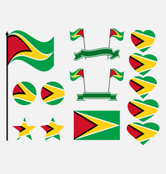 guyana flag set symbols flag in heart vector image