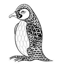 Hand drawn artistically king penguin zentangle vector