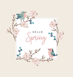 hello spring greeting card invitation with cute vector image
