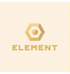 Logos element volume and flat polygon style vector