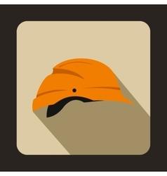 Orange hardhat icon flat style vector