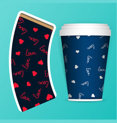photorealistic 3d eps10 paper coffee cup vector image vector image