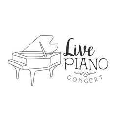 Piano live music concert black and white poster vector