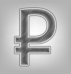 Ruble sign pencil sketch imitation dark vector