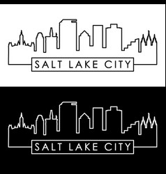 Salt lake city skyline linear style editable vector