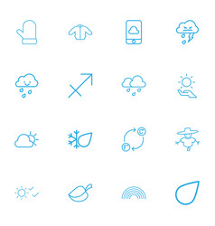Set of 16 editable climate outline icons includes vector