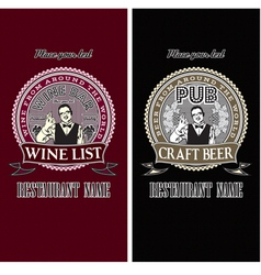 set of menu templates for wine and beer vector image