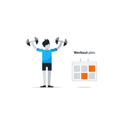 Sport gym workout session person with dumbbells vector