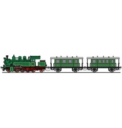 Vintage green steam train vector