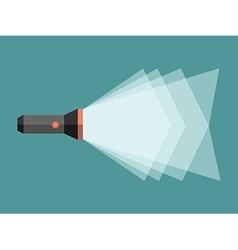 Flashlight with light beam vector