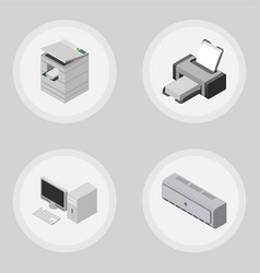isometric office set of scanner computer wall vector image