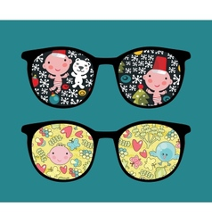 Retro sunglasses with cute baby reflection in it vector