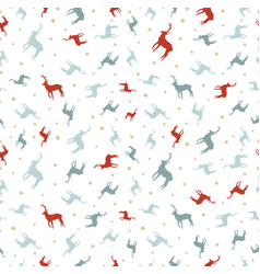 christmas reindeer holiday doodle seamless pattern vector image