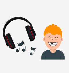 joyful boy with missing tooth listening to music vector image