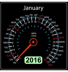 2016 year calendar speedometer car January vector image vector image
