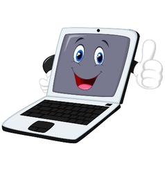 Laptop cartoon giving thumb up vector