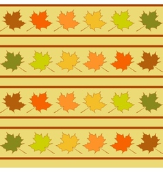 Maple leaf in rows seamless pattern leaves vector