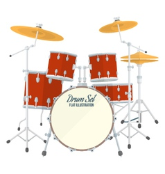 Color flat style drum set vector