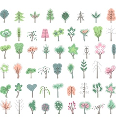 Big set with stylized trees vector image