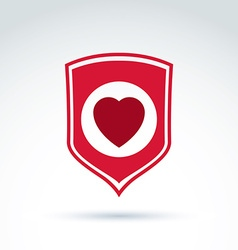 Red heart placed on a shield society donation vector