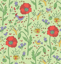 Plants and birds seamless pattern vector