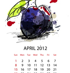 calendar with fruit for 2012 april vector image