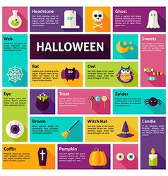 Flat design icons infographic halloween holiday vector