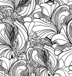 Seamless floral doodle background pattern in with vector