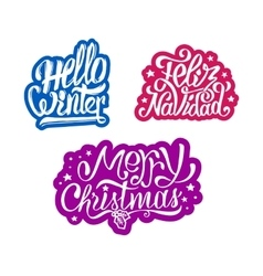 Merry christmas and feliz navidad stickers vector