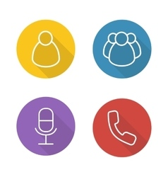 Online conference flat linear icons set vector