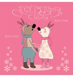 Pair of deers at valentines day vector