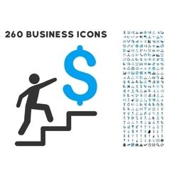 Business stairs icon with flat set vector