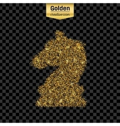 Gold glitter icon of chess knight scales vector