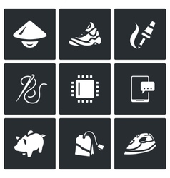 Set of cheap labor icons shoes vector