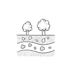 Cut of soil with different layers sketch icon vector