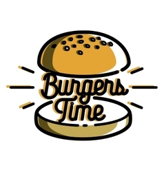 Color vintage fast food emblem vector