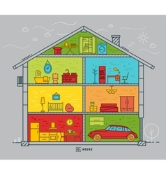 Flat big house silhouette vector